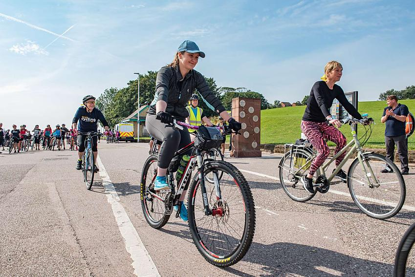 All smiles as the ladies set off on their cycling adventure