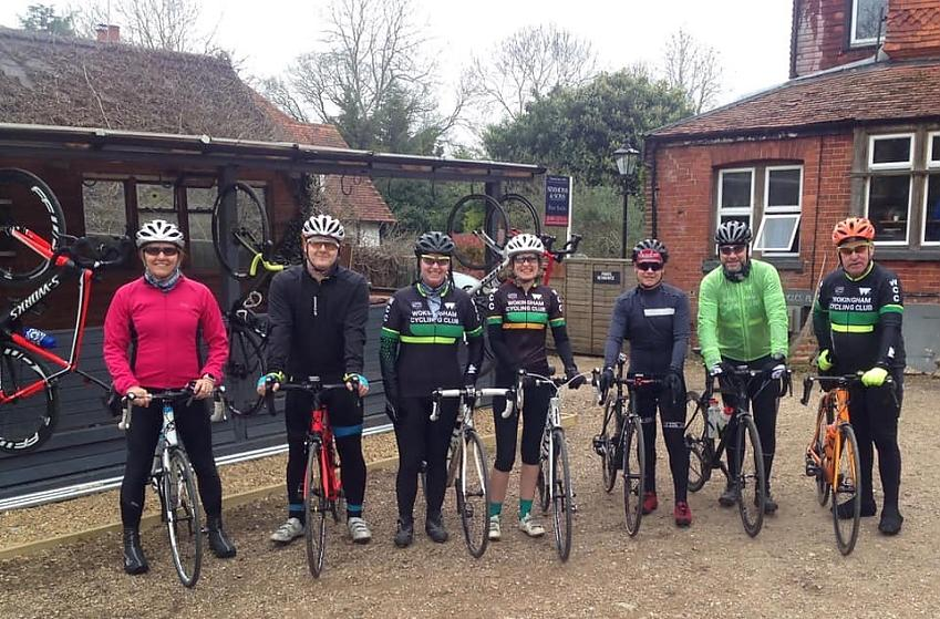 Members of Wokingham Cycle Club at the Velolife cafe
