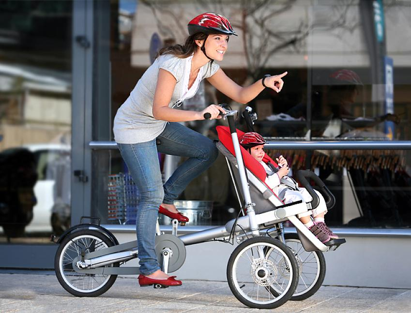 The Taga Bike also converts into a pushchair