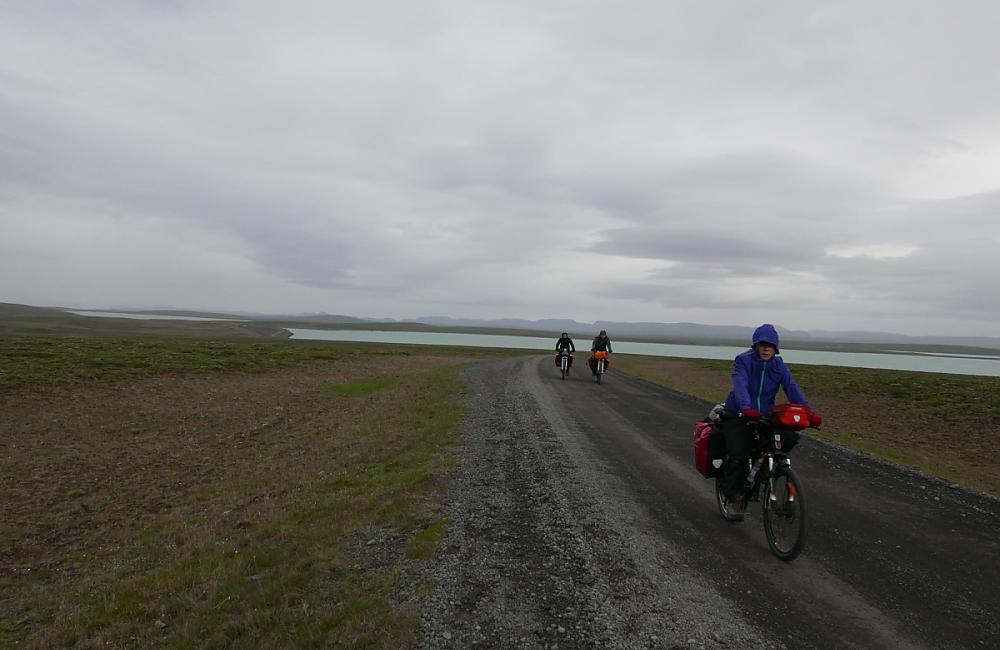Wind swept cyclists