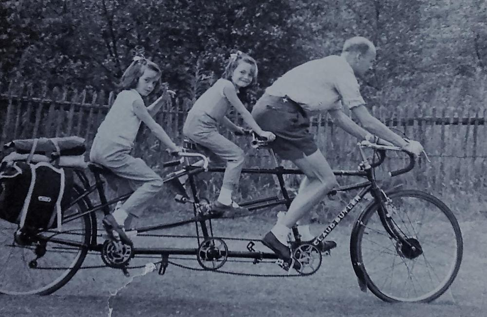 Jack with Susan and Carolyn on their tandem, 1961