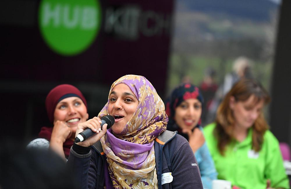 100 Women nominee Shaila Sharif on the mic