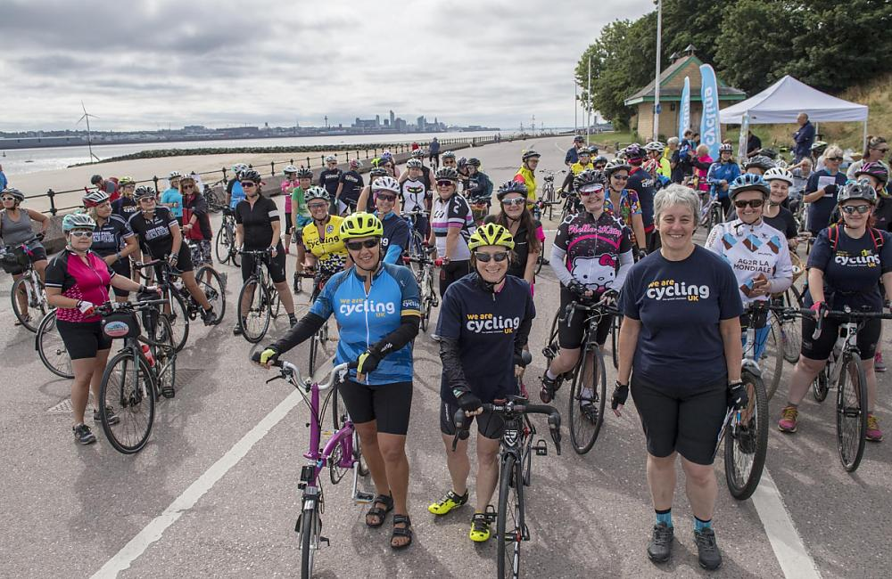 A large group of riders on the Wirral Celebration Rides