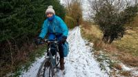 Rider next to frozen canal