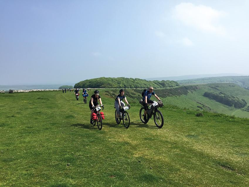 Three cyclists bikepacking