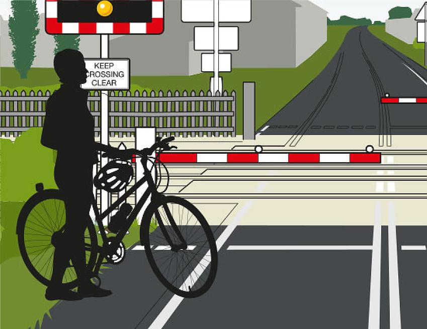 Graphic of a barrier you might find at a level crossing