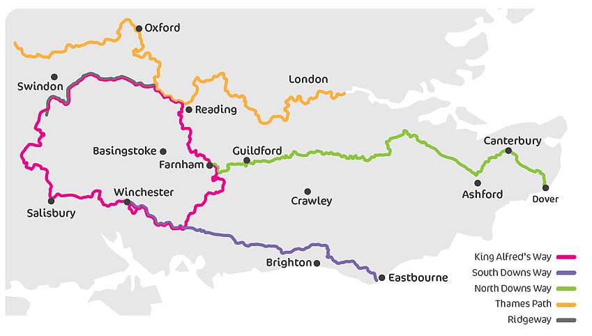 Map showing how King Alfred's Way connects with four National Trails