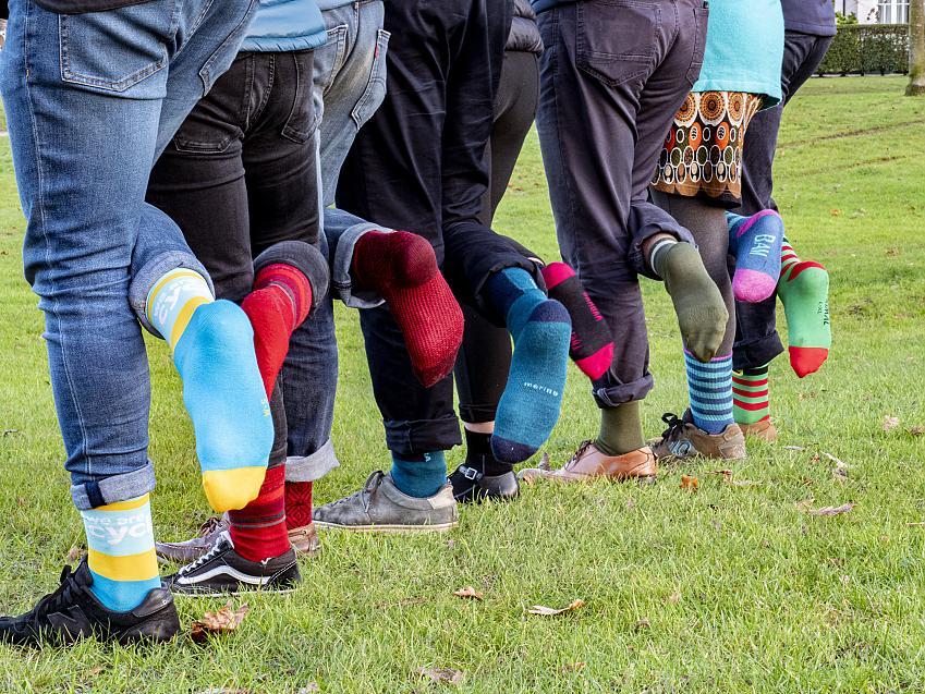 Demonstrating the top socks