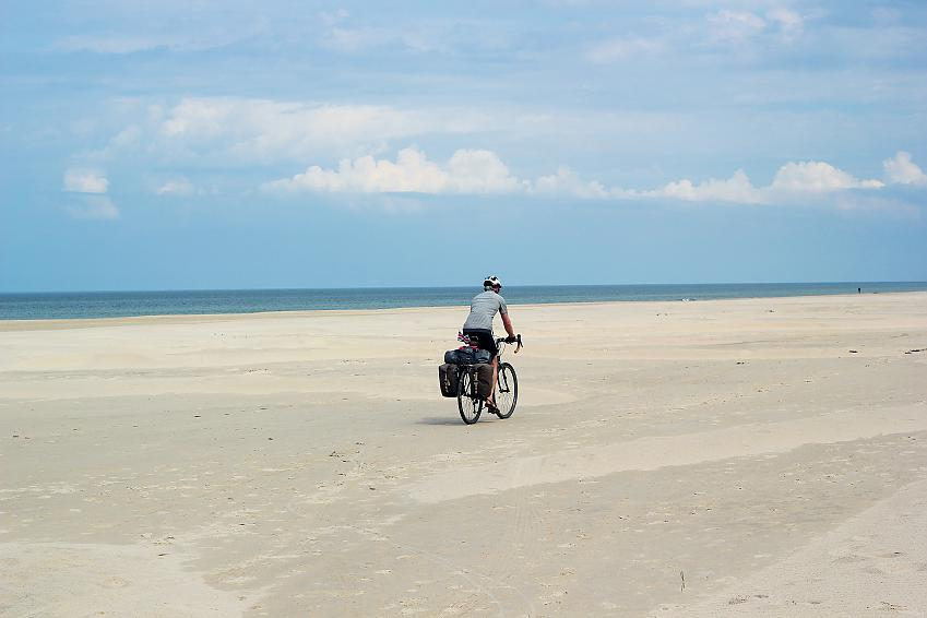 Cyclist on the west Danish dunes.