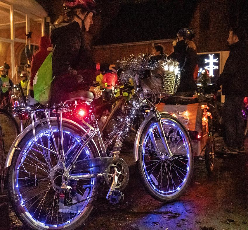 A tinsel-tastic bike on the Glow Ride. Photo by Peter Cornish