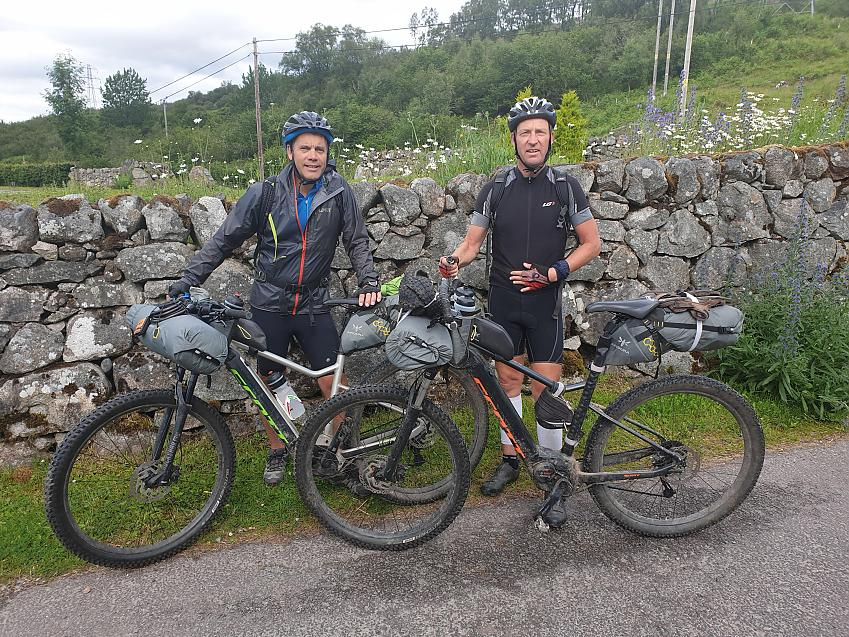 Matthew and Harry with their electric mountain bikes