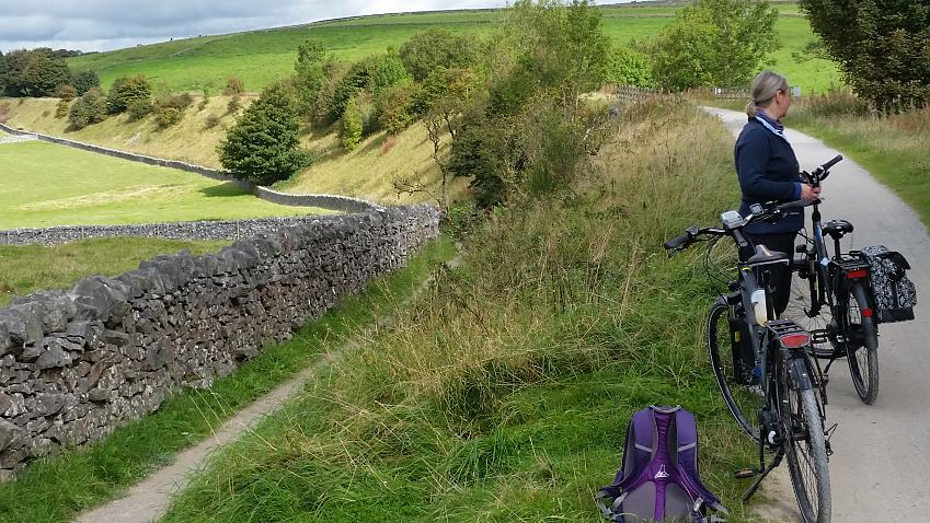 Cathie with the ebikes on the High Peak Trial