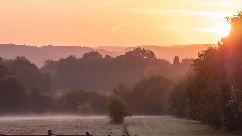Misty morning and rosy fingered dawn