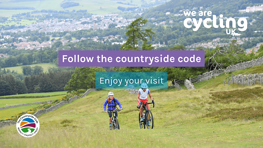 """Two women riding up a grassy hill. Text overlay says """"Follow the Countryside Code, enjoy your visit"""""""