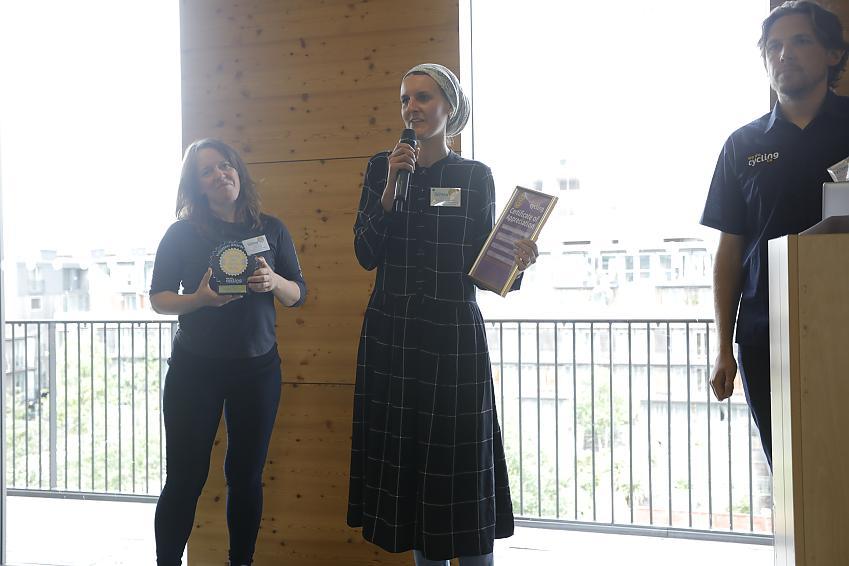 Sarah receiving her award from Jenny Graham - Photo by Robyn Furtado