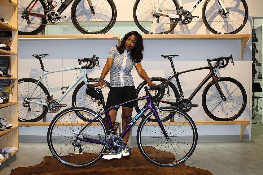 Angellica Bell with the bike she rode for Tour de Celeb