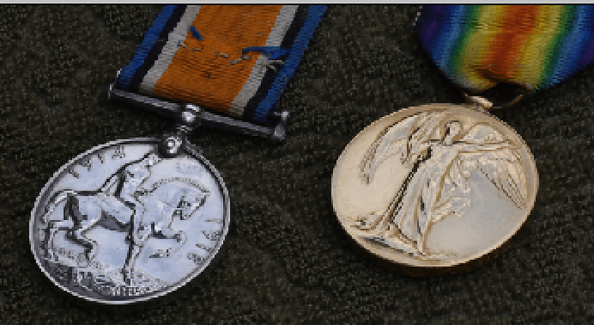 Bert's medals – The British War Medal and The British Victory Medal