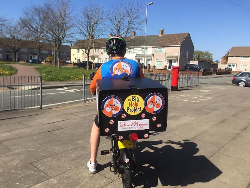Blaen on his cargo bike. Photo by Blaen Roberts