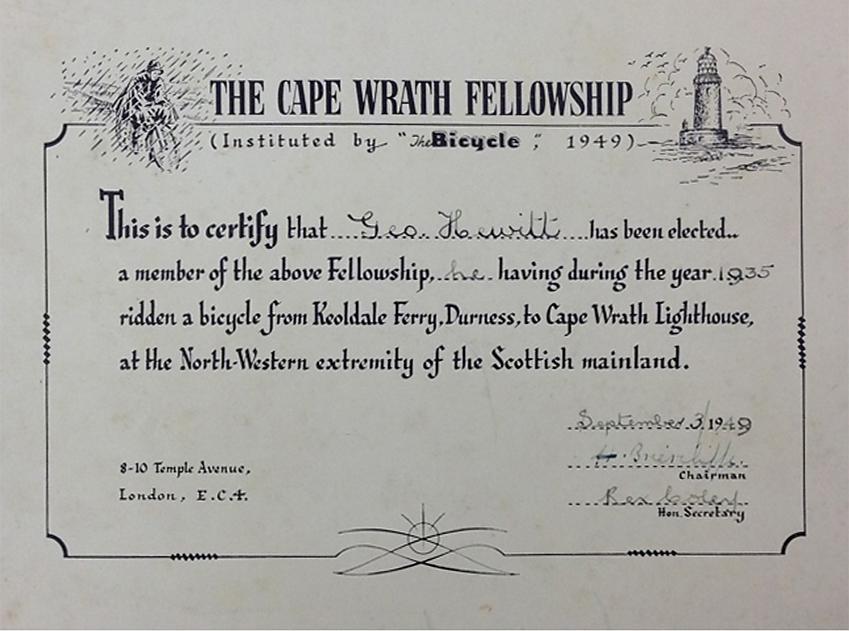 Cape Wrath Fellowship first certificate
