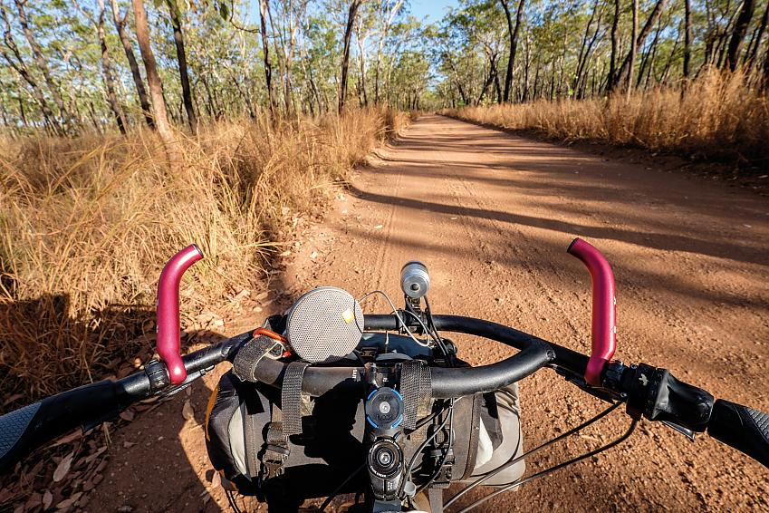 On the dirt road to Maguk Gorge