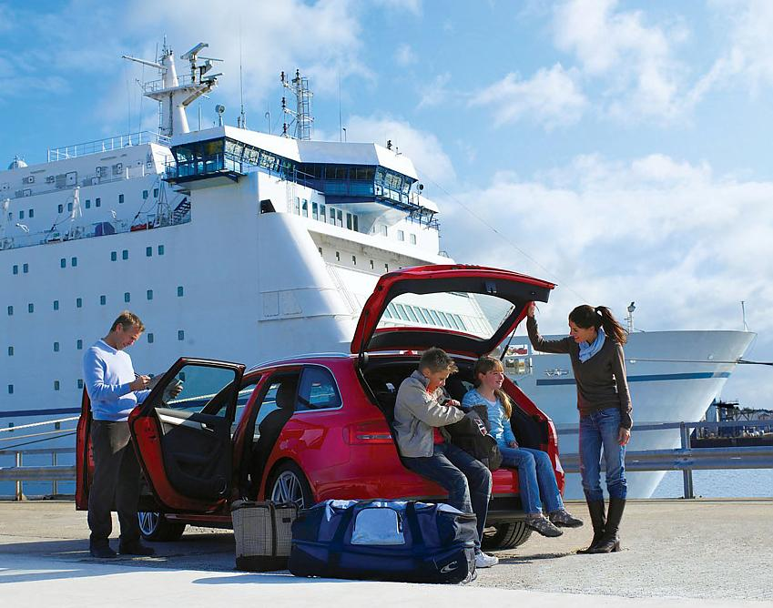 Family car about to board DFDS Seaways ferry