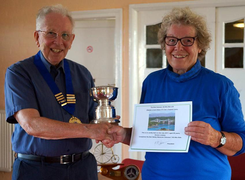 Doreen being presented her certificate for last year's Bert Bailey Memorial Veterans' 100-Mile Ride