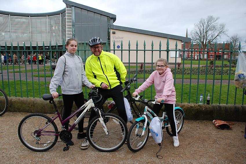 The Hazlehurst family with their Cycling UK goodie bags
