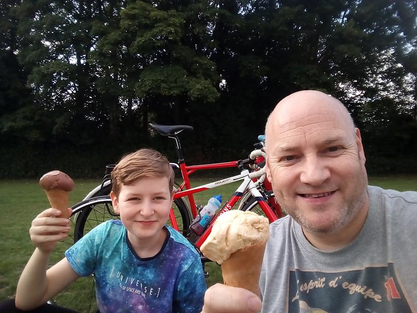 Cycling UK director, Matt Mallinder and son, Ollie enjoy a ride and an ice cream break during the World's Biggest Bike Ride