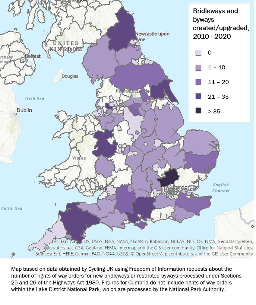 Map showing rights of way improvements in England over last 10 years