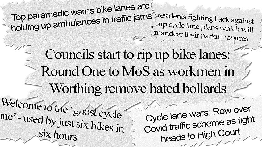 Newspaper headlines have wrongly suggested widespread opposition to cycle lanes