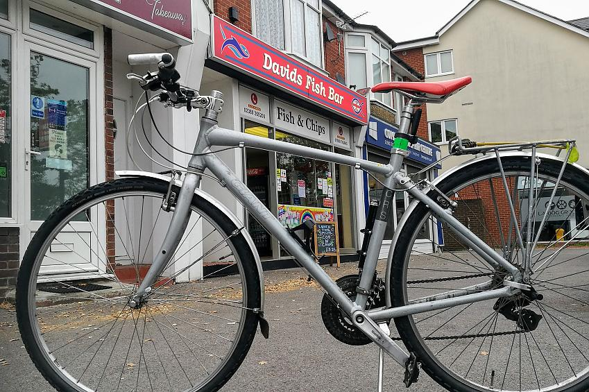 Fish and chip shop with bicycle