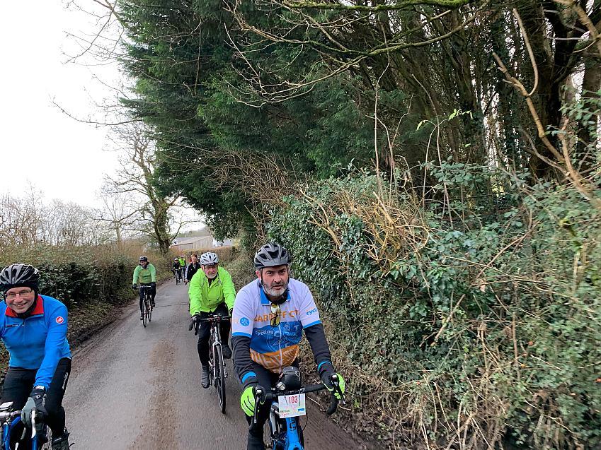 A cycling club riding in Glamorgan