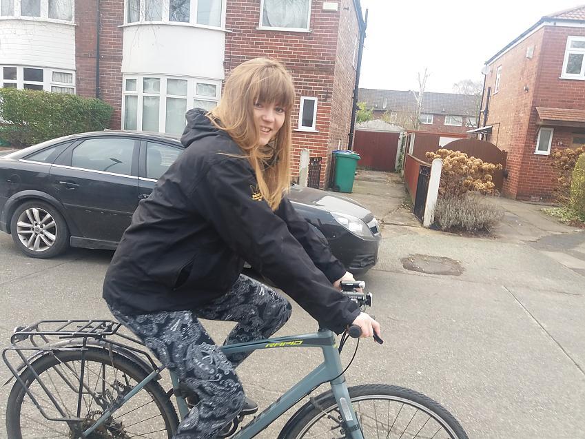 Margaret out on her bike
