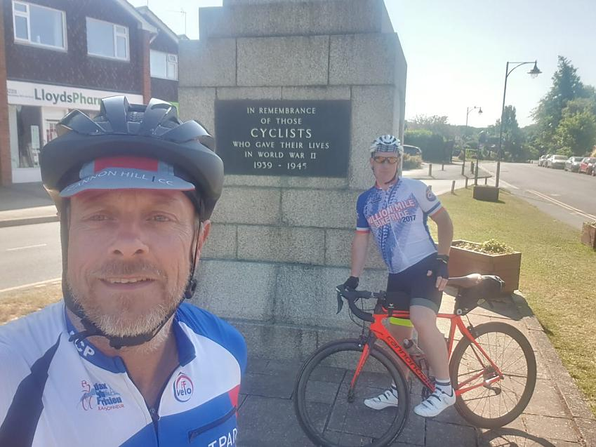 Mick and Karl from Cannon Hill CC visit the Cyclists' Memorial at Meriden.  Photo by Cannon Hill CC