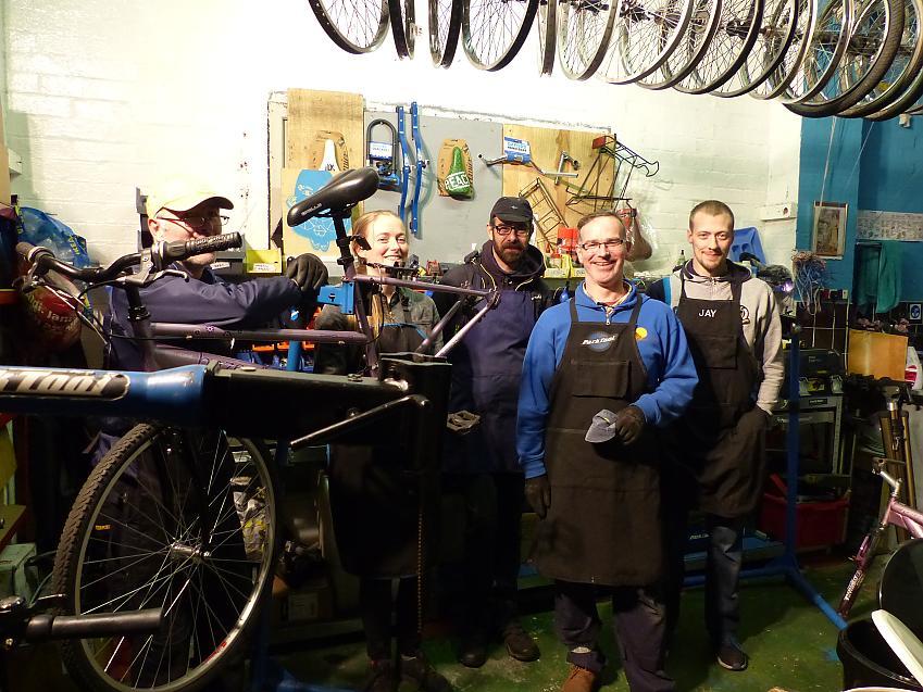 Sylvia with the team at Plattfields Bike Hub