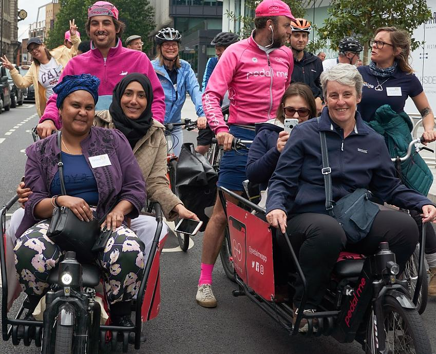 Ride participants in cargo bikes