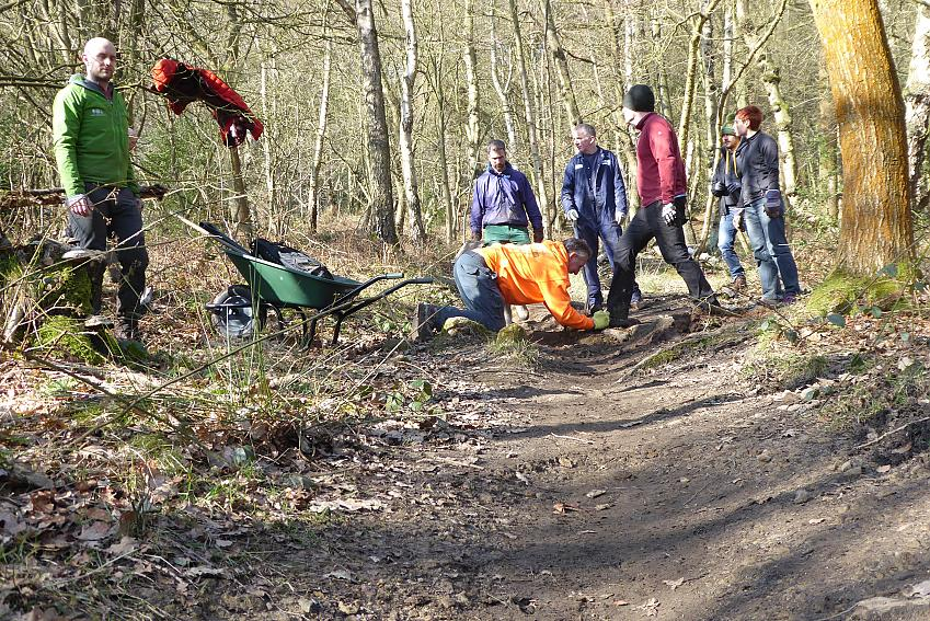 Volunteers taking part in trail building and maintenance  Photo by John Horscroft