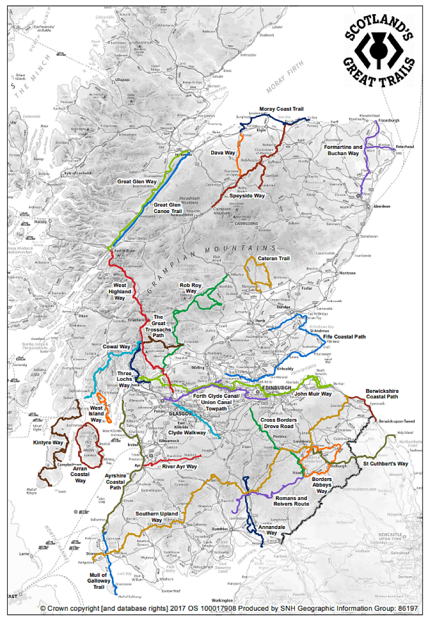 Map of Scotland's Great Trails