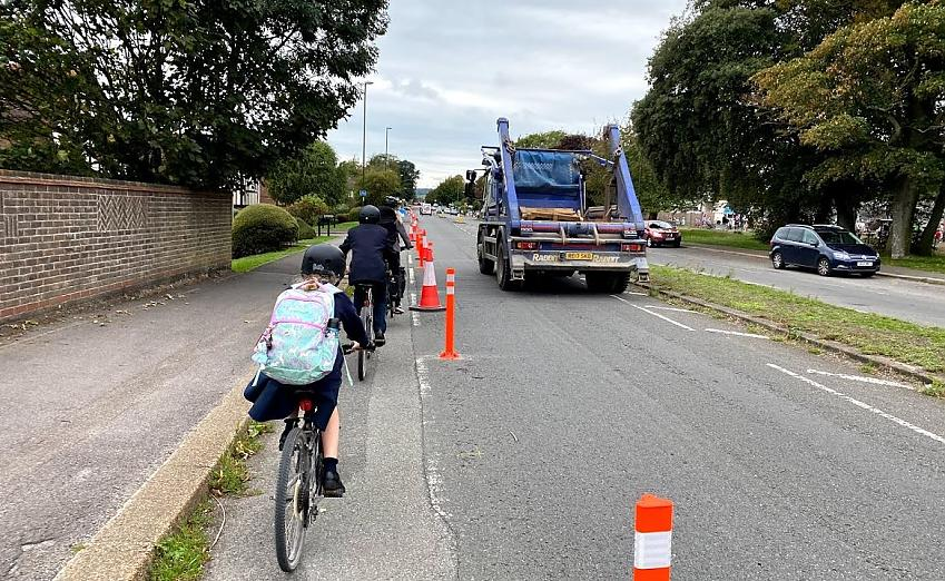 Cyclists in the temporary lane on Upper Shoreham Road