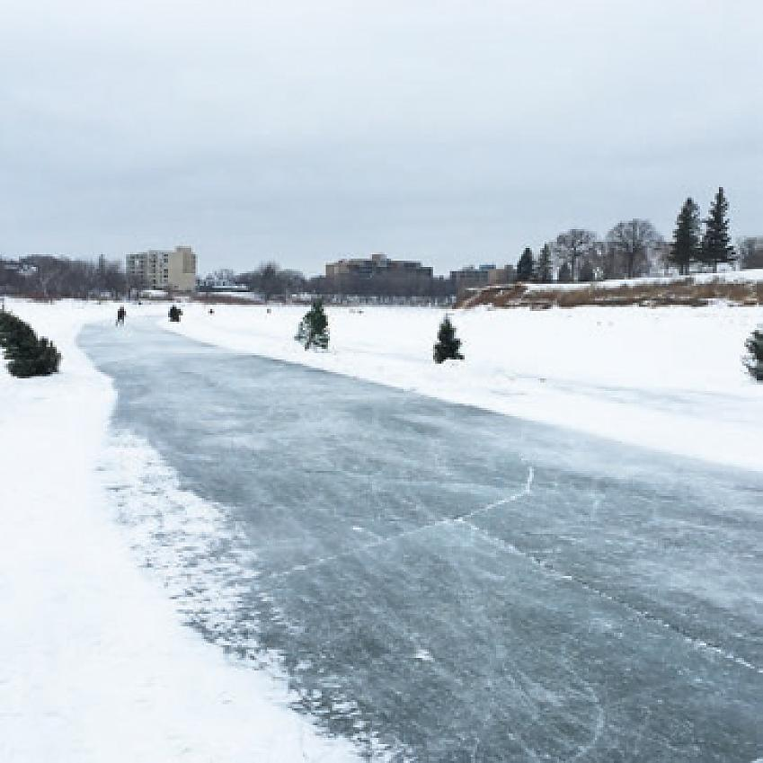 Riding along frozen rivers in Canada
