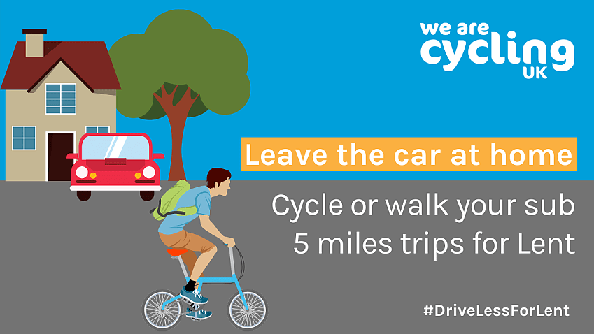 Infographic encouraging people to walk or cycle sub 5 mile trips