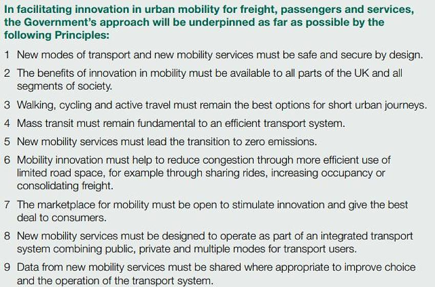 The 9 Principles of the Government's Urban Mobility Strategy