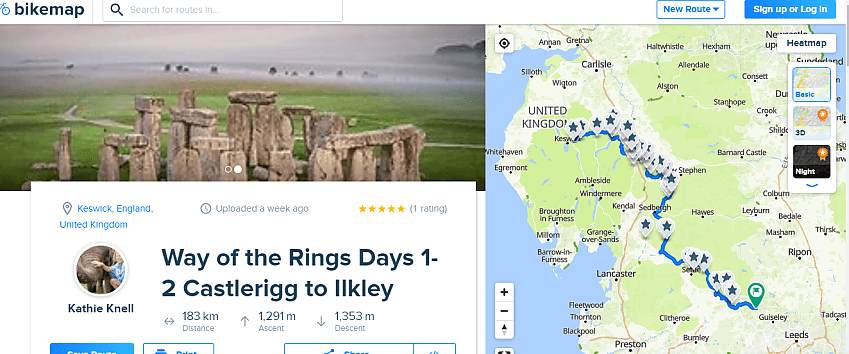 An image from Bikemap website showing a picture of a stone circle plus a map of Britain with a route plotted in blue between Castlerigg and Ilkley