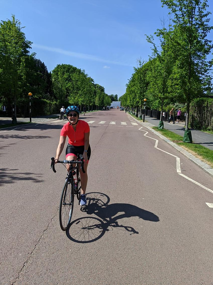 Nurse Mónica Reus Boccherini on her bike