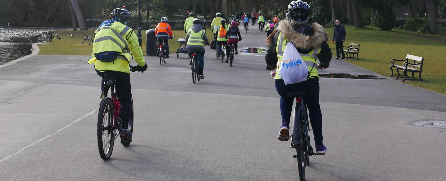 A group of cyclists riding away from the camera on a straight path through a park